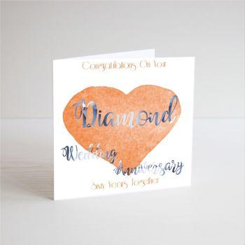 60th Wedding Anniversary Cards - DIAMOND Wedding Anniversary Cards - 60th ANNIVERSARY Cards - HANDMADE CARD - 60 YEARS Together - Diamond ANNIVERSARY