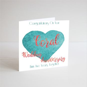 35th Coral Wedding Anniversary Cards - 35th Wedding ANNIVERSARY Cards - HANDMADE CARD - 35 YEARS Together - Coral Anniversary CARDS For PARENTS