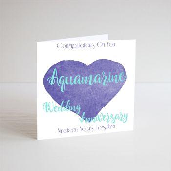19th Aquamarine Wedding Anniversary Cards - 19th Wedding ANNIVERSARY Cards - HANDMADE CARD - 19 YEARS Together - AQUAMARINE Wedding Anniversary CARDS