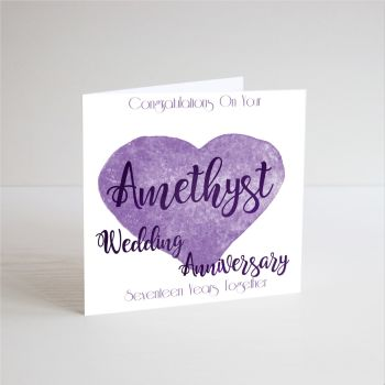 17 Years Amethyst - 17th Wedding ANNIVERSARY Cards - CONGRATUALTIONS - Handmade - WEDDING Anniversary CARDS - Amethyst ANNIVERSARY - Anniversary CARDS