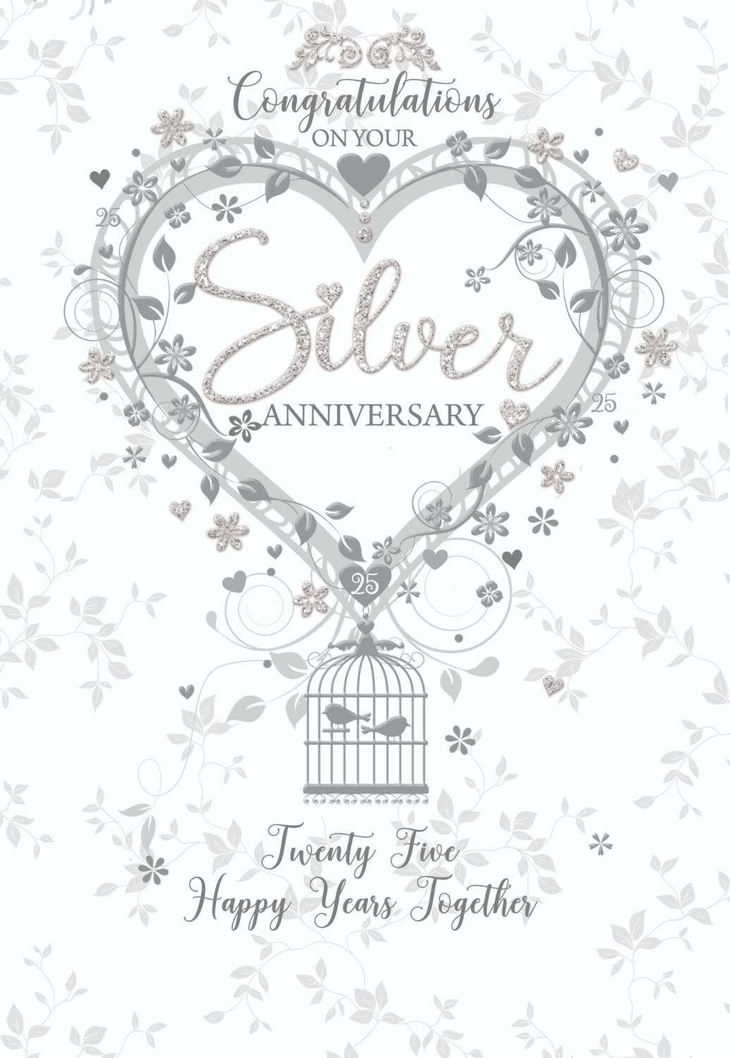 Silver Wedding Cards - TWENTY Five HAPPY Years TOGETHER - 25th ANNIVERSARY