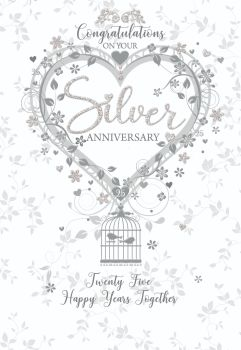 Silver Wedding Cards - TWENTY Five HAPPY Years TOGETHER - 25th ANNIVERSARY Cards - 25th WEDDING Anniversary - SILVER Anniversary Card FOR PARENTS