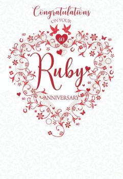40th Wedding Anniversary Cards - CONGRATULATIONS - Ruby WEDDING Cards - RUBY 40th WEDDING Anniversary CARDS - Ruby WEDDING Cards For SPECIAL Friends