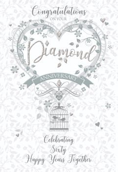 60th Wedding Anniversary Cards - CELEBRATING 60 Happy YEARS Together - 60th DIAMOND Wedding ANNIVERSARY Cards - DIAMOND Wedding CARDS