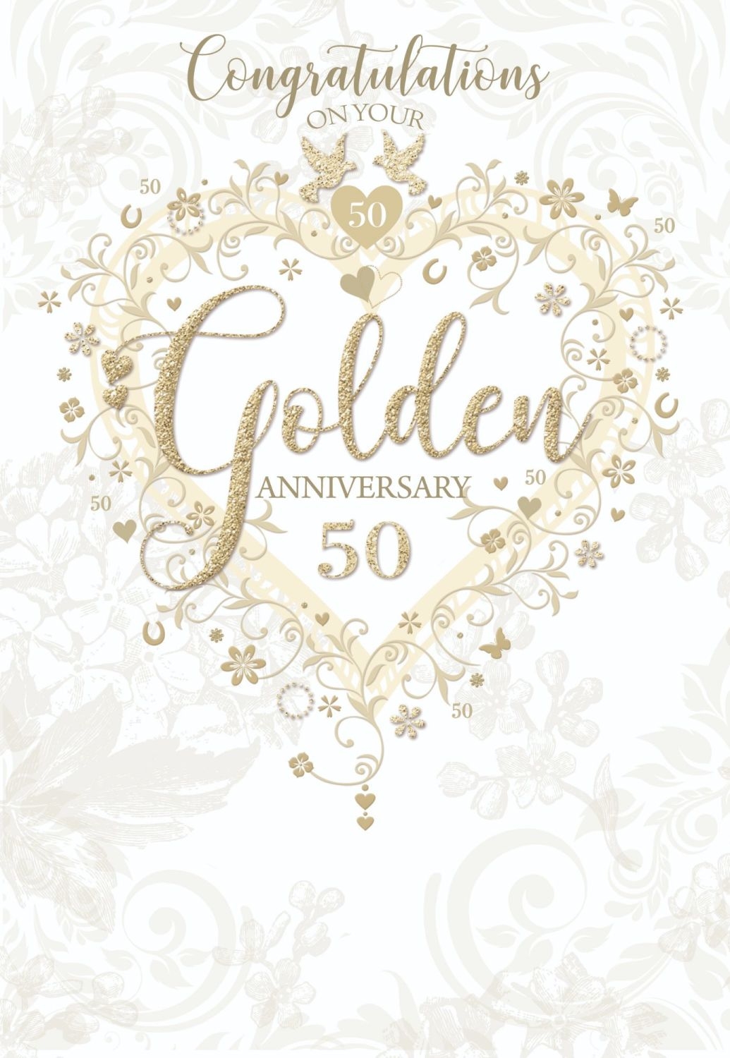 Golden 50th Wedding Anniversay Cards - CONGRATULATIONS On Your GOLDEN Anniv