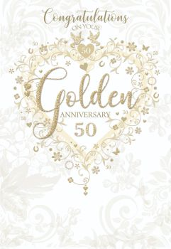 Golden 50th Wedding Anniversay Cards - CONGRATULATIONS On Your GOLDEN Anniversary - 50th ANNIVERSARY Cards - GOLDEN Wedding CARDS - 50th Anniversary
