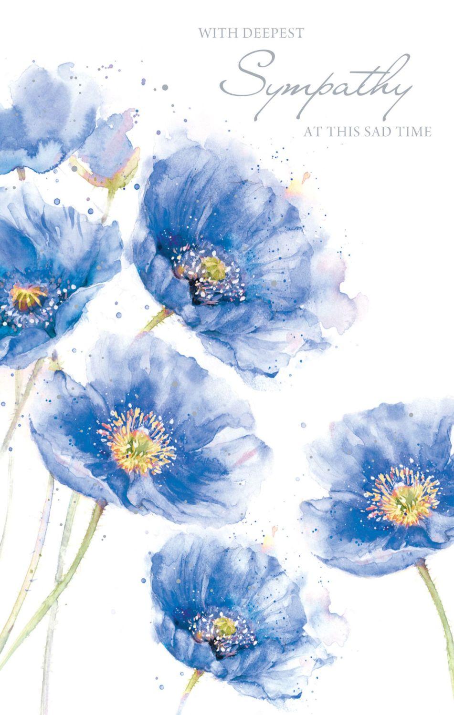 Sympathy Cards - With DEEPEST Sympathy - PRETTY Floral SYMPATHY Card - COND