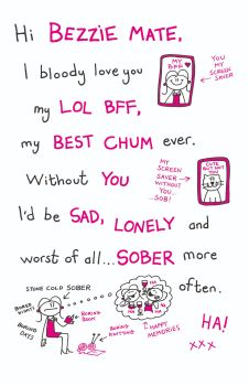 Bezzie Mate Birthday Card - I BL**DY Love YOU - Best FRIEND Birthday Card - FUNNY Rude BIRTHDAY Cards For BEST Friend - FRIEND - Sister - COUSIN