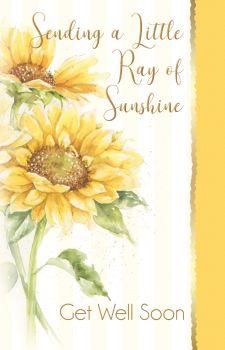 Sunflower Get Well Cards - SENDING A Little RAY Of SUNSHINE - Get WELL Soon Cards - GET Well SOON - Thinking Of YOU Cards - SUNFLOWER Greeting Card