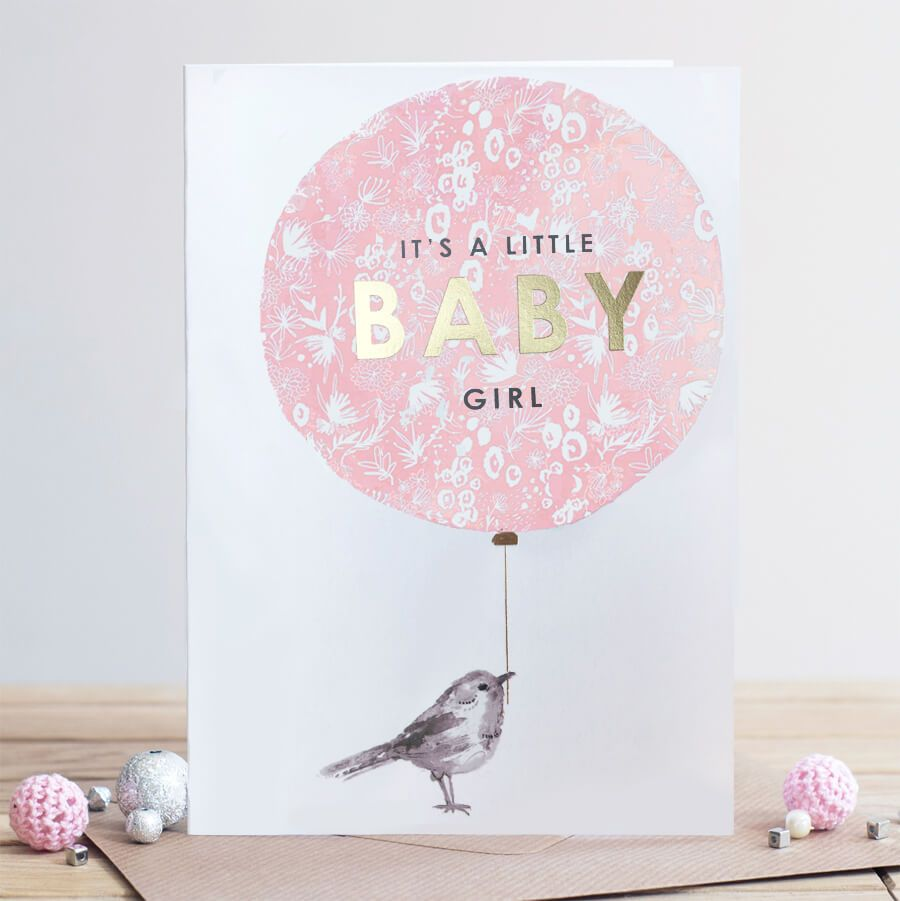 New Baby Cards - BABY Girl CARD - It's A LITTLE Baby GIRL - Baby GIRL Ballo