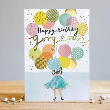 Happy Birthday Gorgeous - Birthday Cards - BALLOONS Birthday CARD - BIRTHDAY Cards For HER - BEAUTIFUL Birthday CARD For FRIEND - Wife - GIRLFRIEND