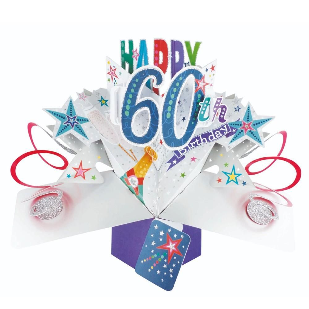 60th Birthday Cards For Him - POP UP Birthday Cards - 3D POP UP Birthday CA