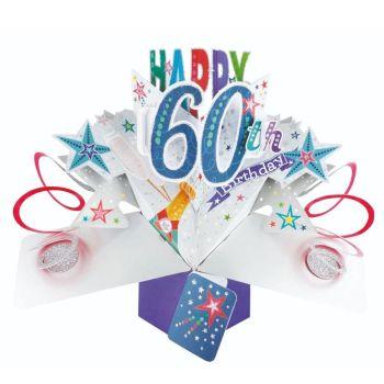 60th Birthday Cards For Him - POP UP Birthday Cards - 3D POP UP Birthday CARDS - Happy 60th BIRTHDAY - Pop Up Greeting CARD - Birthday Card For DAD