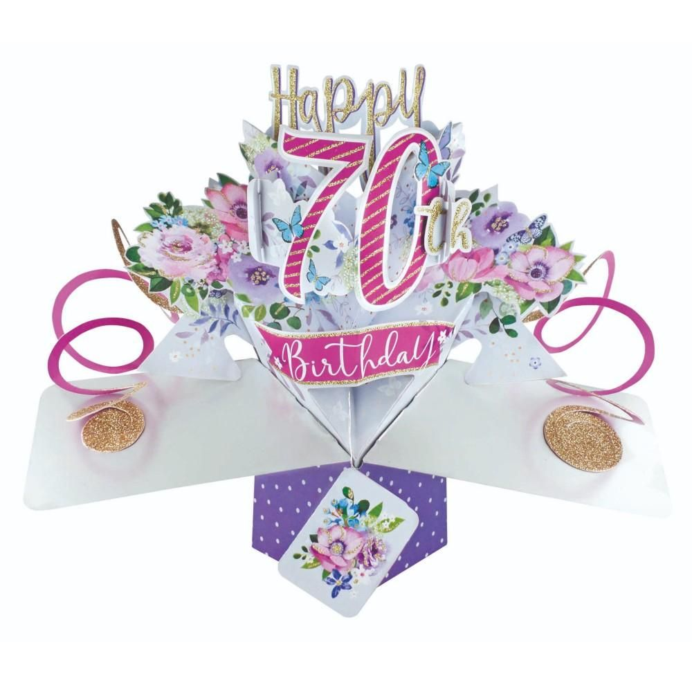 70th Birthday Cards For Her - POP UP Birthday Cards - 3D POP UP Birthday CA