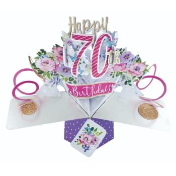 70th Birthday Cards For Her - POP UP Birthday Cards - 3D POP UP Birthday CARDS - Happy 70th BIRTHDAY - Pop Up Greeting CARD - Birthday Card For GRAN