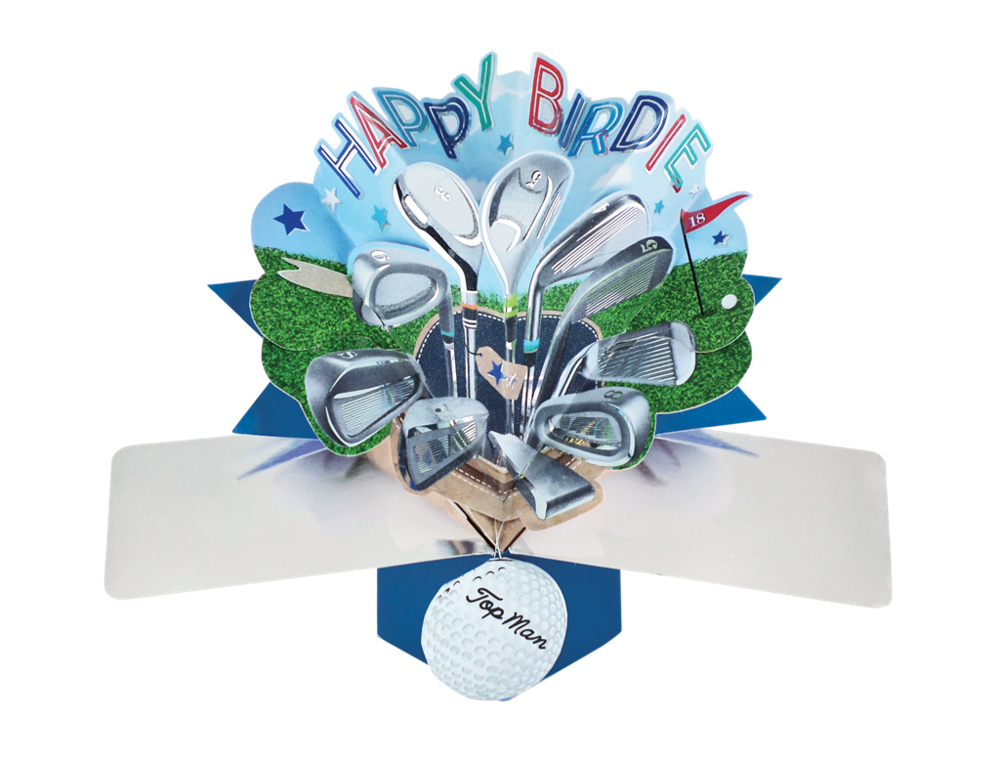 Golfing Birthday Cards - POP UP Birthday Cards - HAPPY BIRDIE - 3D POP UP B