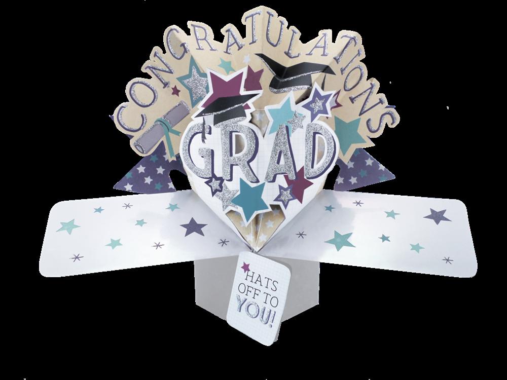 Graduation Pop Up Greeting Card - GRADUATION Cards - POP UP Cards - CONGRAT