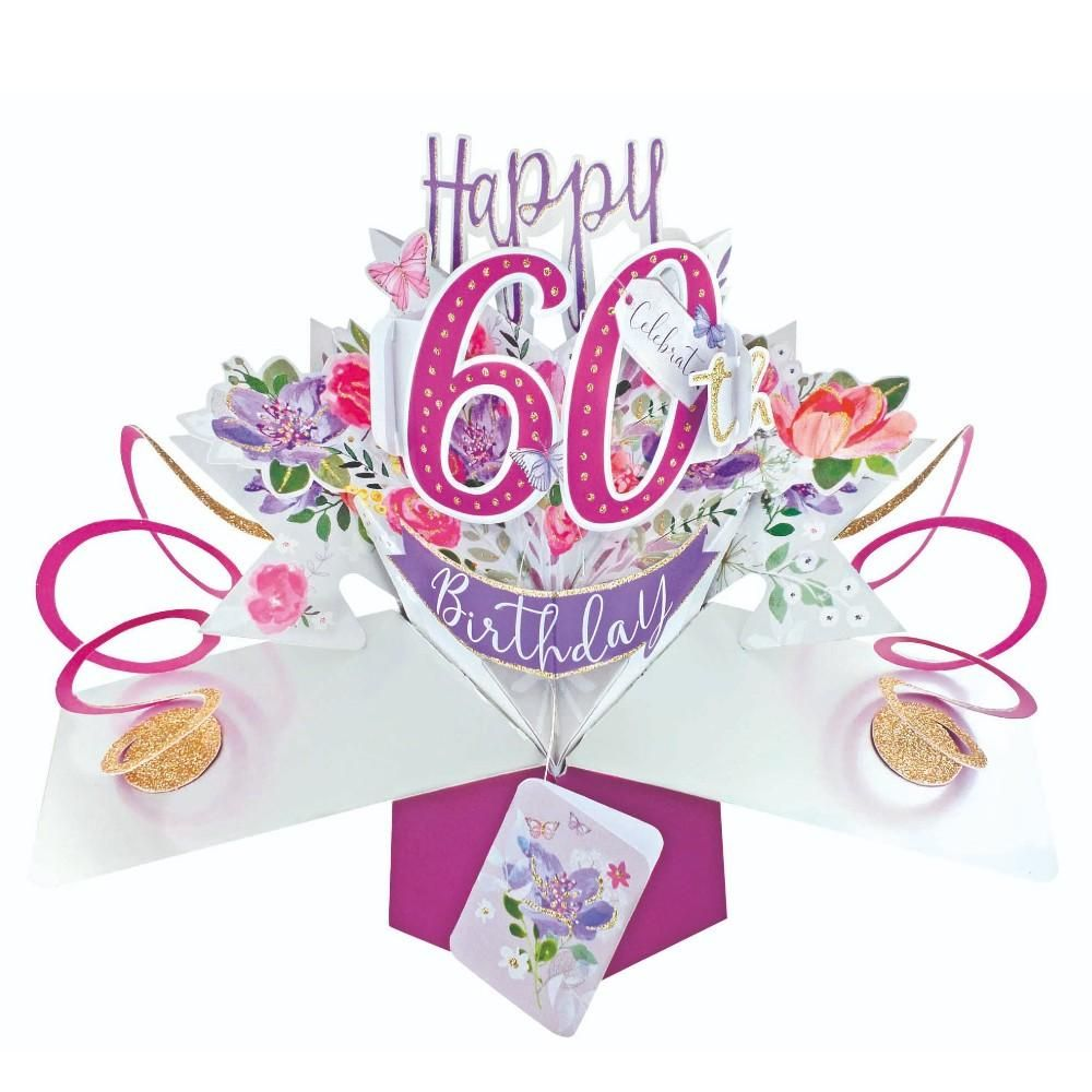 60th Birthday Cards For Her - POP UP Birthday Cards - 3D POP UP Birthday CA
