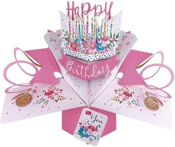 Birthday Cards - POP UP Birthday Cards - 3D POP UP Birthday CARDS - Floral 3D Pop Up Greeting CARD - Birthday Card For MUM - Friend - DAUGHTER - Gran