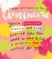 Beautiful Granddaughter Birthday Cards - You're BEAUTIFUL Funny & KIND - Colourful BIRTHDAY Card For GRANDDAUGHTER - Granddaughter BIRTHDAY Cards