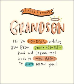 Birthday Card Happy Birthday Grandson - We're SO SUPER Proud To  BOAST About YOU - Grandson BIRTHDAY Cards - LOVING Grandson BIRTHDAY Card