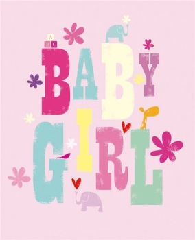 Baby Girl Card - BABY GIRL - New BABY Cards - BABY Girl CONGRATULATIONS Card - NEW Arrival - BABY Cards - Pretty PINK New BABY Girl CARD