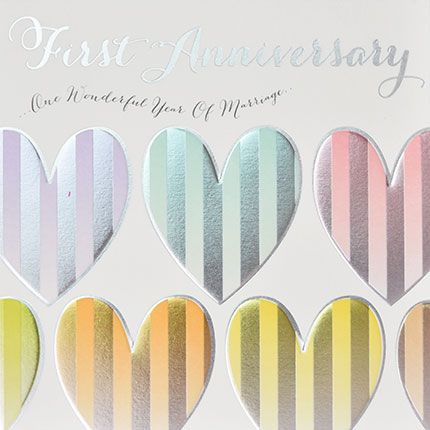 1st Anniversary Cards - ONE Wonderful YEAR Of MARRIAGE - Gorgeous FOILED AN