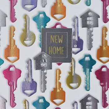 New Home Cards - NEW HOME - Embellished CARD - Colourful KEYS New HOME Cards - NEW House CARD - New HOME & Change Of ADDRESS Cards