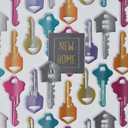 New Home Cards - NEW HOME - Embellished CARD - Colourful KEYS New HOME Card