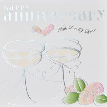 Happy Anniversary Card - WITH Lots Of LOVE - Pretty FOILED Wedding ANNIVERSARY Card - ANNIVERSARY Cards - Anniversary CARDS For FRIENDS - Wife