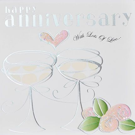Happy Anniversary Card - WITH Lots Of LOVE - Pretty FOILED Wedding ANNIVERS