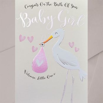 Baby Girl Card - WELCOME Little ONE - EMBELLISHED Baby GIRL Card - New BABY Cards - CUTE Stork Baby CARD - New BABY Daughter - GRANDDAUGHTER Cards