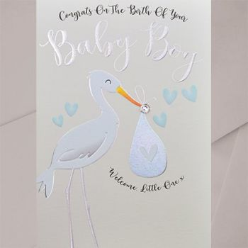 Baby Boy Card - WELCOME Little ONE - EMBELLISHED Baby BOY Card - New BABY Cards - CUTE Stork Baby CARD - New BABY Son - GRANDSON Cards