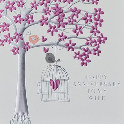 Wife Anniversary Cards - HAPPY Anniversary To MY WIFE - Cute LOVE Birds In