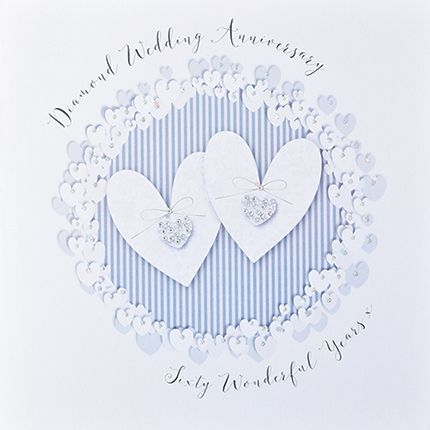 60th Diamond Anniversary Cards - 60 WONDERFUL Years - Luxury BOXED Annivers