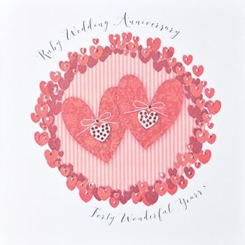 40th Ruby Anniversary Cards - 40 WONDERFUL Years - Luxury BOXED Anniversary Card - RUBY Wedding ANNIVERSARY - UNIQUE 40th WEDDING Anniversary CARD