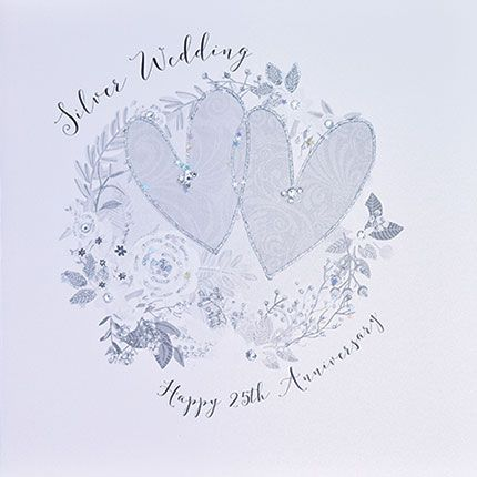 25th Silver Anniversary Cards - SILVER WEDDING - Luxury BOXED Anniversary C