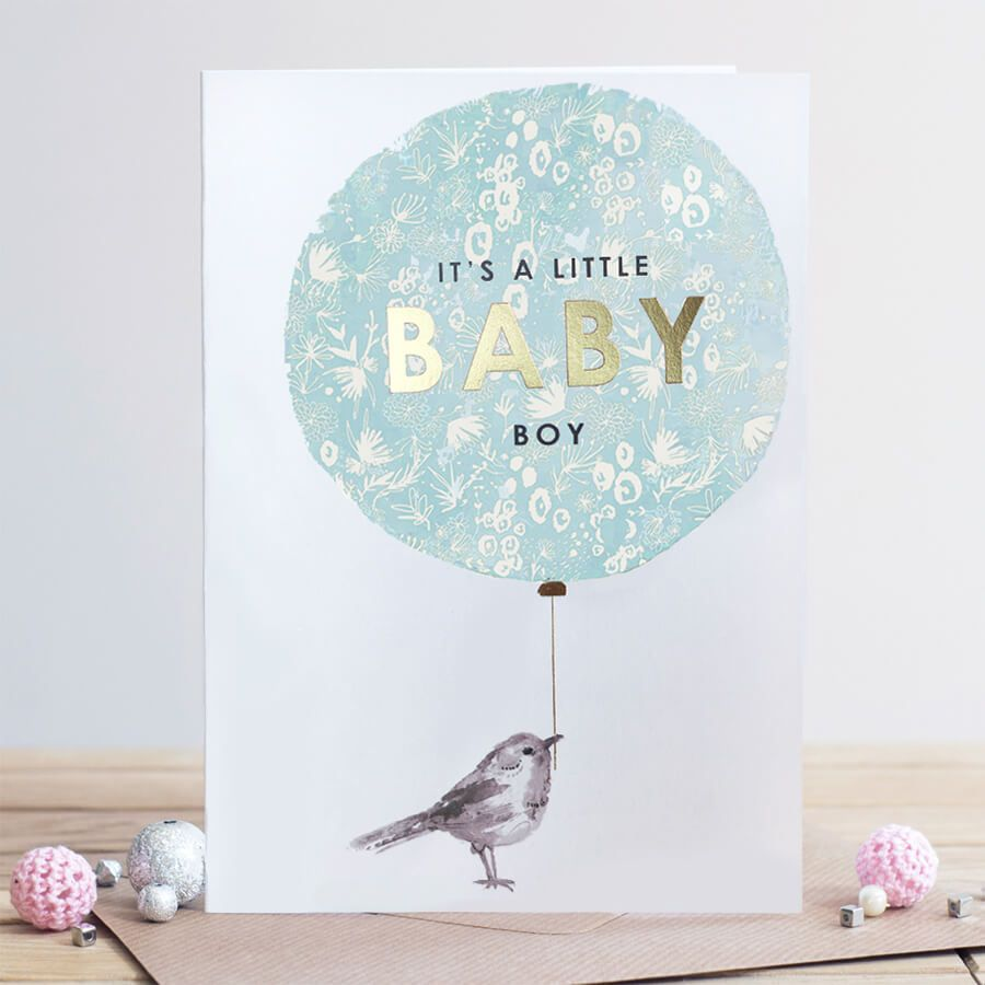 New Baby Cards - BABY Boy CARD - It's A LITTLE Baby BOY - Baby BOY Balloon