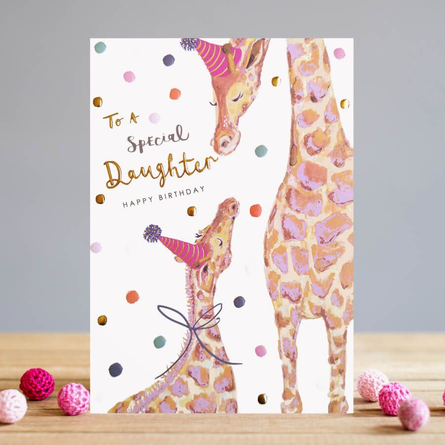 To A Special Daughter Birthday Card - HAPPY BIRTHDAY - Adorable PARTY Giraf