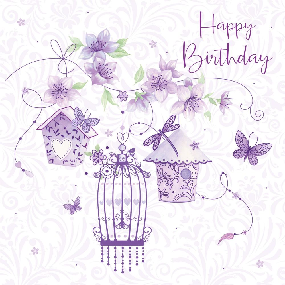 Birthday Cards For Her - HAPPY BIRTHDAY - Pretty LILAC Butterflies & FLOWER