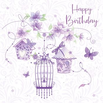 Birthday Cards For Her - HAPPY BIRTHDAY - Pretty LILAC Butterflies & FLOWERS - Birthday CARD For FRIEND - Aunt - SISTER