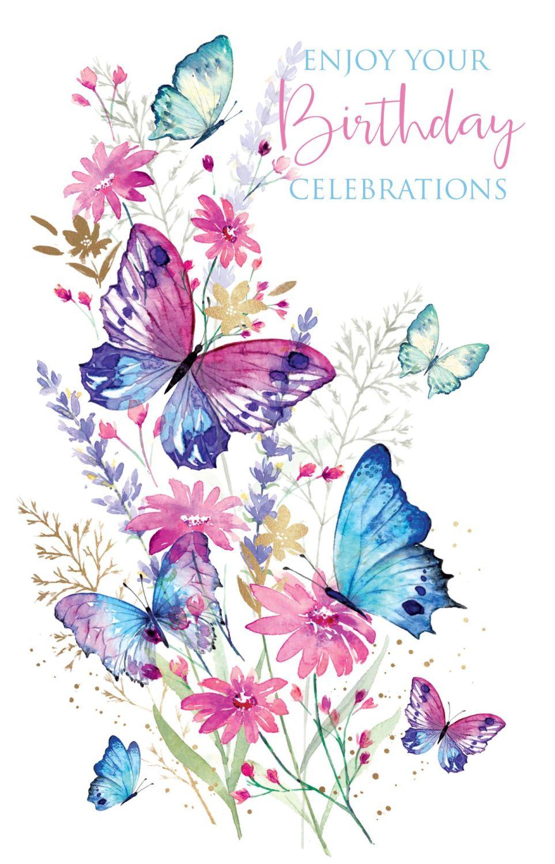 Buttterfly Birthday Card - ENJOY Your BIRTHDAY Celebrations - PRETTY Birthd