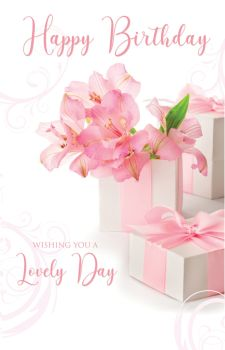 Birthday Cards For Her - WISHING You A LOVELY Day - LILY Birthday CARD - PRETTY Birthday CARD For MUM - Gran - SISTER - AUNT - Daughter In LAW