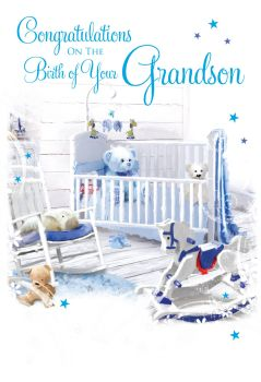 Cute Grandson Card - CONGRATULATIONS - Congratulations ON The BIRTH Of Your GRANDSON - New GRANDSON Cards - New GRANDPARENTS Cards - NEW Baby BOY