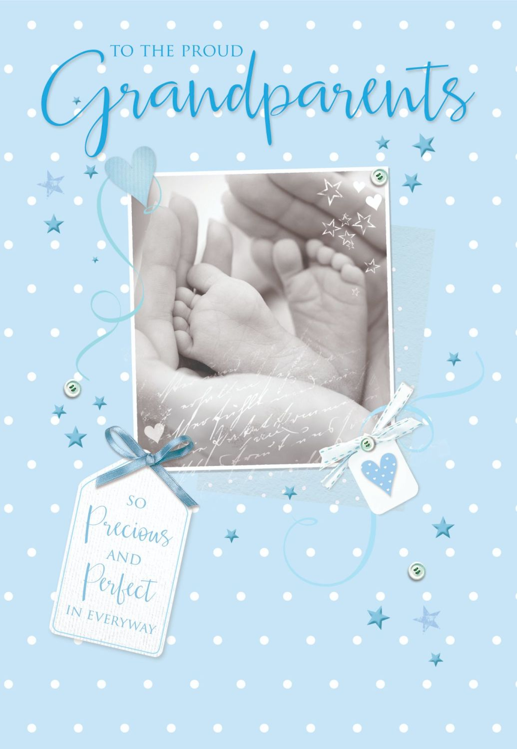 New Grandparents Cards - TO The Proud GRANDPARENTS - NEW Baby BOY - New BAB
