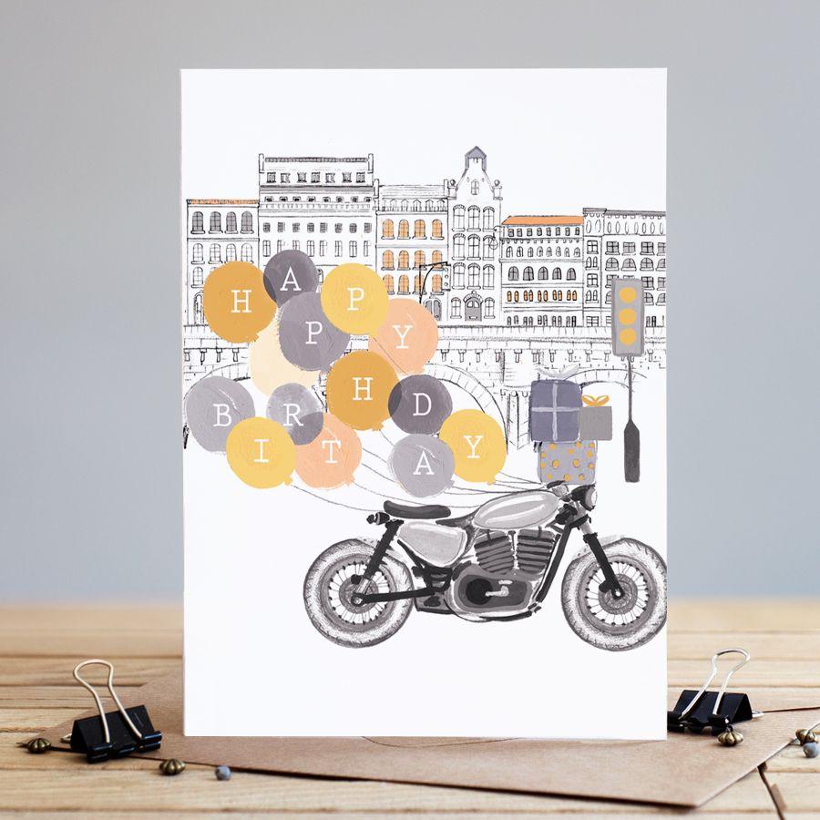 Motorbike Birthday Cards - HAPPY BIRTHDAY - Birthday BALLOONS - Birthday CA