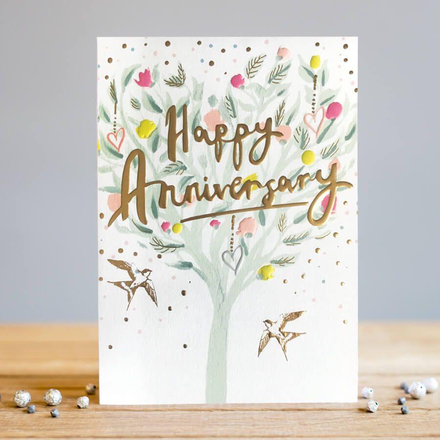 Happy Anniversary Cards - PRETTY Birds In A TREE Greeting CARD - Anniversar