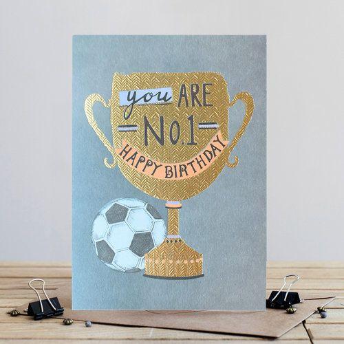 Football Birthday Card - TROPHY - You Are NO1 HAPPY Birthday - OPEN Male BI