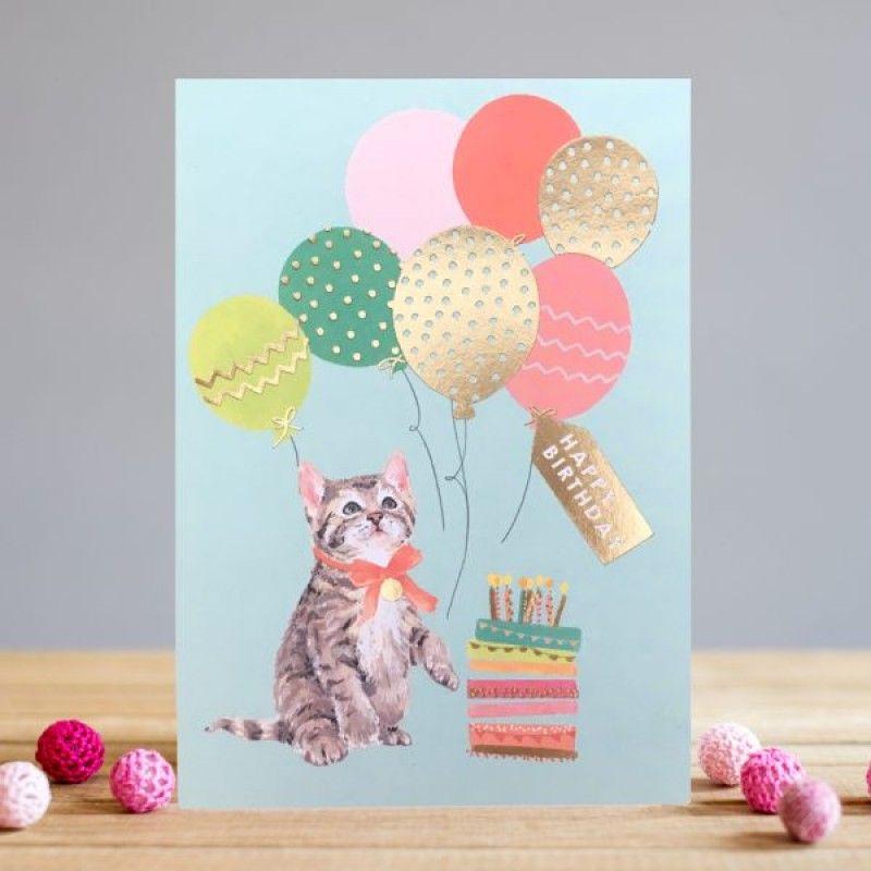 Tabby Kitten Birthday Card - HAPPY Birthday - BIRTHDAY Cards FOR HER - Cat