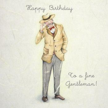 Birthday Cards For Him - HAPPY Birthday To A Fine GENTLEMAN - Birthday CARDS For MEN - Gentleman CARD - Birthday CARD For Grandad - HUSBAND - FRIEND